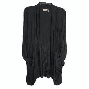 LOGO | stretchy gray open cardigan L